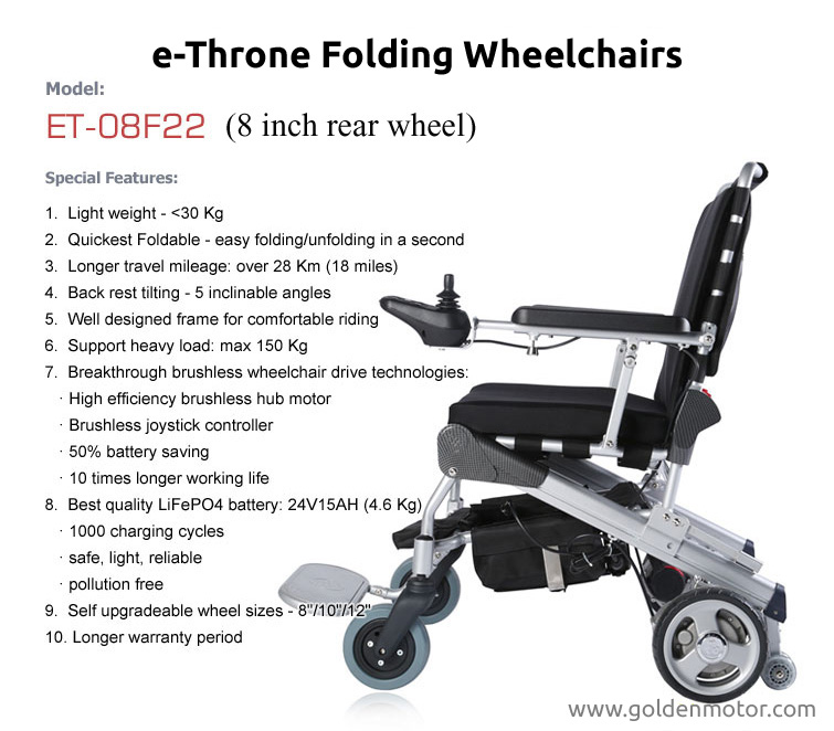 Portable electric wheelchair folding electric wheelchair Portable motorized wheelchair