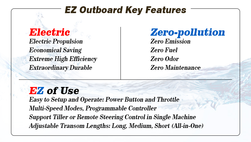 EZoutboard Features, EZ-Outboard,Electric propulsion outboard, electric propel outboard, outboard conversion kit, electric boat engine, Electric boat conversion, electric outboard, electric outboard motor, electric inboard motor